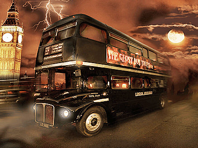 The black double decker bus from the ghost bus tour in London
