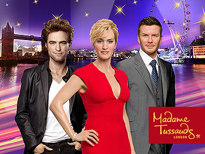Wax figures of Kate Winslet, Robert Pattinson and David Beckham at Madame Tussauds in London