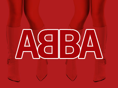 White and red ABBA lettering to a red backdrop, over a close up image of white go go boots