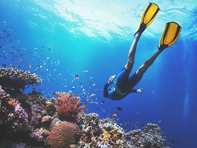 A man scuba diving with a coral reef in the corner