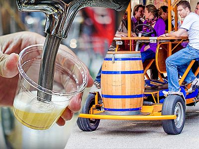 Split image of a man's hand pouring beer from a tap into a cup, and people on a beer bike in the street