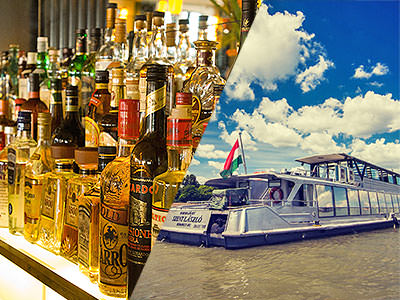 A split image of a well stocked bar of spirits and a boat travelling through water