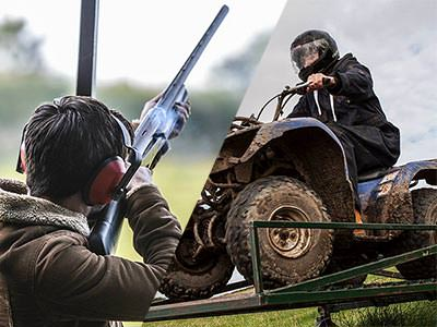 A split image of a man aiming a shotgun into the sky and a blue quad bike being driven over an obstacle