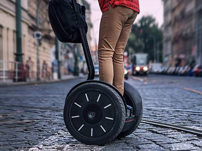 A man's legs on a segway