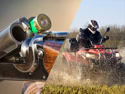 Split image of a cartridge in a shotgun barrel, and a man driving a quad bike in a field
