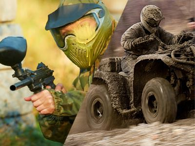 Split image of a man aiming a piantball gun in a mask and camouflage gear, and a man driving a quad bike
