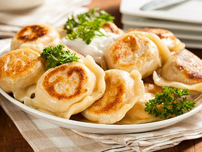 A plate of traditional Polish dumplings