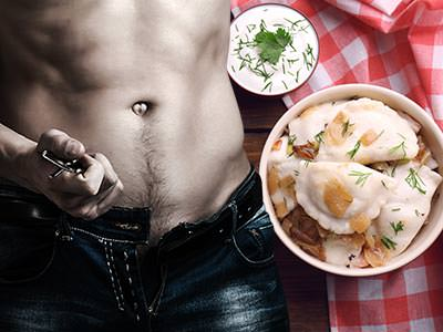 A split image of a bowl of traditional Polish dumplings and a man's torso, whipping his belt off