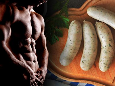 A split image of a topless man and sausages on a heart-shaped board
