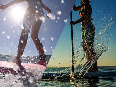 A split image of two people on wakeboards out on the sea