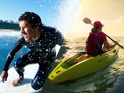 Split image of a man surfing in a wesuit, and the back of someone sailing on the sea in a kayak