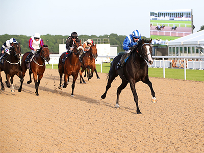 Horses crossing the finishing line of a grass racetrack, with a large crowd watching on