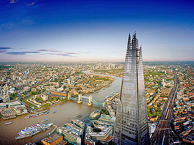 The Shard towering above the city