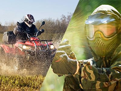 Split image of someone driving a quad bike through mud, and a man in a paintball mask and aiming with a paintball gun