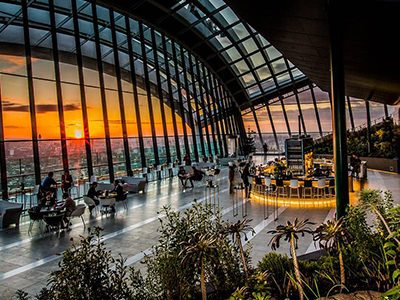 People drinking in Sky Pod Bar at Sky Garden, London