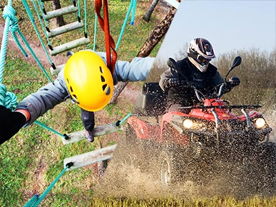 Split image of a bird's eye view of someone crossing a rope bridge in the forest, and a man quad biking through mud