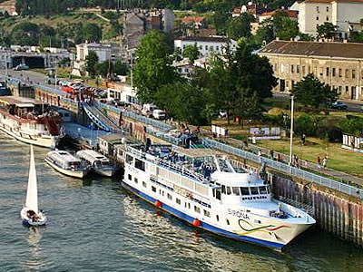 Boats moored on the river in Belgrade