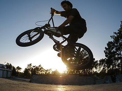 Man on a BMX in the air