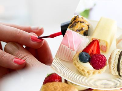 A split image of a woman's nails being painted and a high tea being displayed