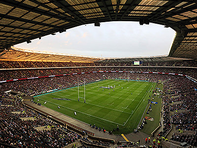 The pitch and the full stands at Twickenham Rigby Stadium during a rugby match