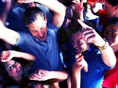 men and women on a dancefloor seen from above
