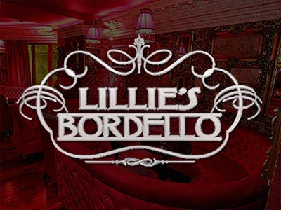 The red, booth interior of Lillie's Bordello