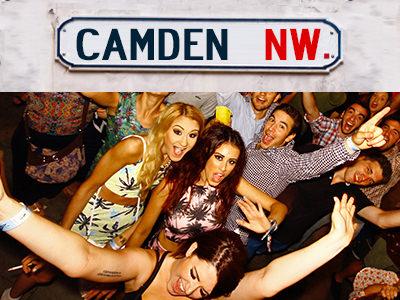Camden street sign and men and women dancing