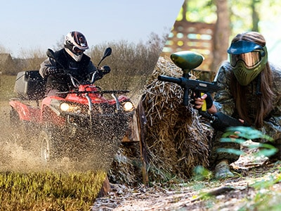 A split image of a person driving a quad bike through water and a girl shooting a paintball gun from behind a haybail