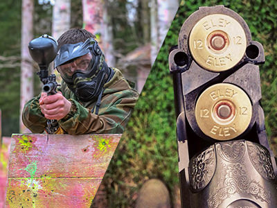 A split image of a man aiming a paintball gun and two bullets loaded inside a gun