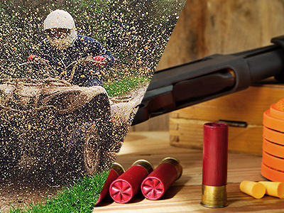Split image of a man driving a mud buggy with mud flying in the air, and a shotgun barrel and red bullets