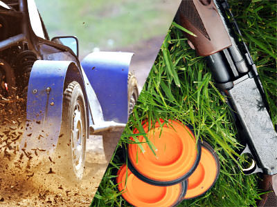 A split image of wheels in the mud, and clays and a gun in the grass