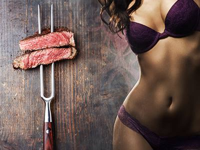 A split image of two pieces of steak on a fork and a woman's body wearing purple underwear