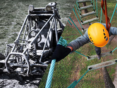 A split image of a mud buddy and a high rope climber