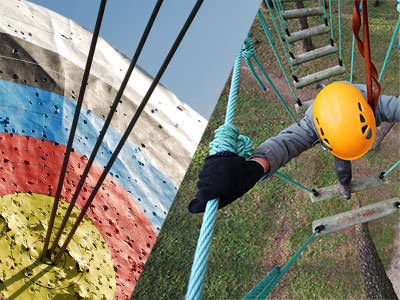 A split image of a target and someone on a high ropes course
