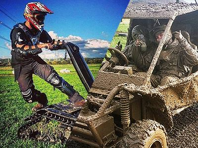 Split image of a man driving a DTV Shredder to a backdrop of a field and blue sky, and two men sat in a muddy quad bike