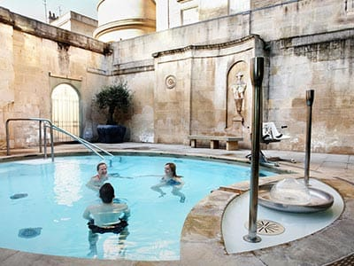 Five people in the thermal baths
