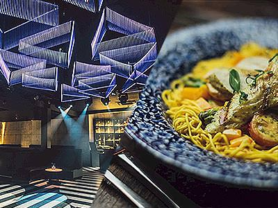 Split image of triangular lights above a spacious dance floor, and a plate of food