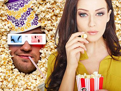A split image of a man's face submerged in popcorn and a girl eating popcorn from a cardboard packet