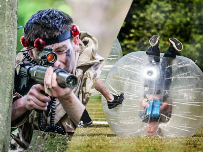A split image of a man aiming a laser gun and a person upside-down in an inflatable dorm