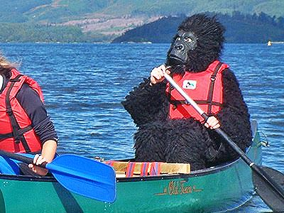 A person wearing a gorilla costume paddling across Loch Lomond