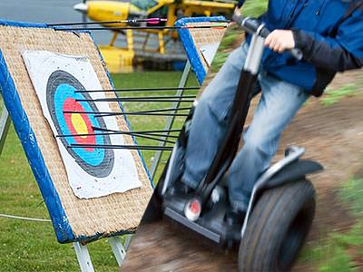 Split image of an archery target and a man riding a segway in the forest
