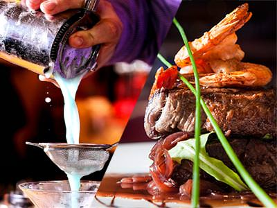 Split image of a cocktail being poured from the shaker, with steak and onion rings on the plate