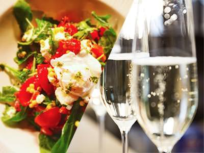 A split image of a salad and multiple flutes of champagne