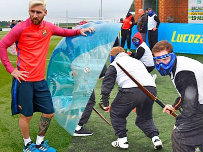Split image of Messi stood next to a blue inflatable zorb, and a group of men playing archery tag