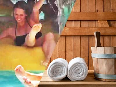 Split image of a woman in a pool in a yellow dinghy, with a pair of legs in the foreground, and two rolled up towels and a bucket in a wooden sauna