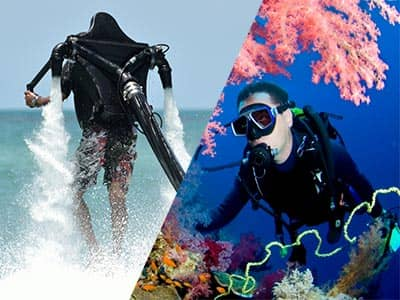 Split image of a man on a Jet-Lev, and a man scuba diving under the sea