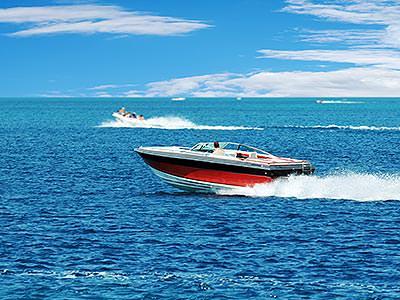 A speedboat sailing through the sea