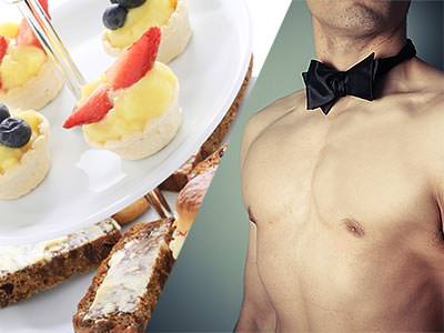 Split image of tiny desserts on a cake stand and a naked male torso in a black bowtie