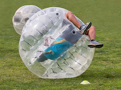 A man rolling in a zorb
