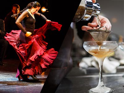 A split image of a woman dancing flamenco and a cocktail being poured through a sieve